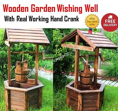 Garden Wishing Well Planter Flower Bucket Patio Lawn Wooden Outdoor Decor Rustic