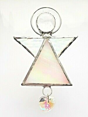 New White Guardian Angel stained glass heart suncatcher house warming April gift