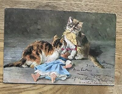 Vintage artist drawn cat postcard - naughty cats destroying a baby doll