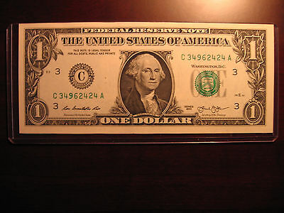 ERROR OVER INKED 9's-2 CONSECUTIVE $1 DOLLAR BILL NOTES US CURRENCY/PAPER MONEY