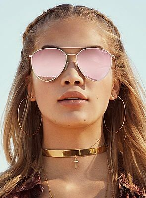 New Women's Quay Indio Sunglasses Gold/Pink Mirror