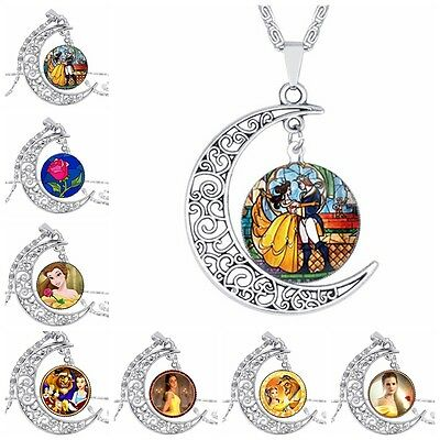 Beauty And The Beast Glass Cabochon Necklace Pendant Necklace Friend Gift