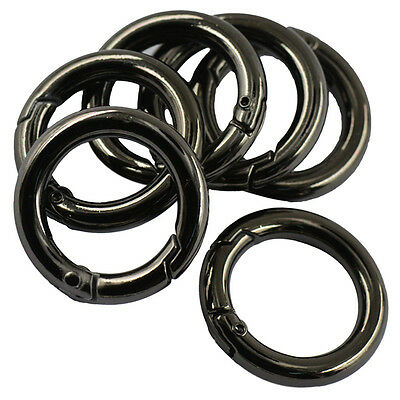 1pc/6pcs Circle Carabiner Spring Clip Snap Hook Keychain Alloy Ring 25mm Hiking
