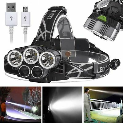 30000LM  3 x T6 + 2 x XPE LED zoom Lampada frontale USB Ricaricabile + cavo USB