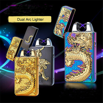 USB Electric Dual Arc Plasma Windproof Cigarette Lighter Rechargeable Flameless