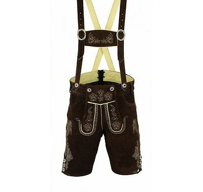 Mens Trachten Oktoberfest German Bavarian Lederhosen Lederhose Dark brown