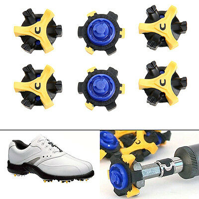 6/12 pcs Golf Shoes Spike Replacement Blue Yellow Fast Twist Tri-Lok For Foot #