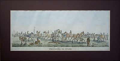 Racing: 4 Scarce Antique Large Hand Coloured Etchings 19Th Century