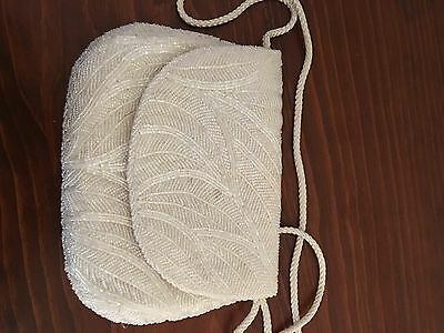Cream Colored Beaded Purse cluch or shoulder bag