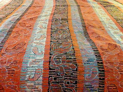 Antique 19thC c1870 Wool Cashmere Paisley Stripe  Fabric 56 x 112