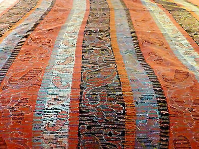 Antique 19thC c1870 Wool  Paisley Stripe  Fabric 56 x 112