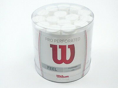 *NEU*60 Wilson Pro Overgrip Perforated Griffband weiß Tacky Griff Tennis white