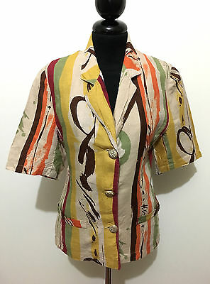 CULT VINTAGE '80 Giacca Camicia Donna Lino Flax Woman Jacket Shirt Sz.S - 40
