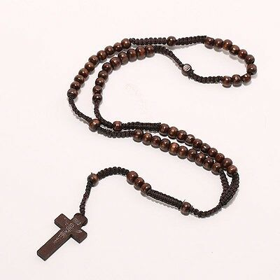 Wooden Catholic Rosary Cross Necklace Prayer 9mm Beads Jesus Wood Crucifix 25 in
