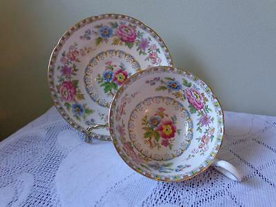 Royal Grafton Crown Bone China Busy Floral & Scroll Design Cup & Saucer