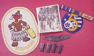 Original Wwii 319Th Bomb Sqdn 90Th Bomb Gp Grouping - Sqdn Patch / Wings Etc