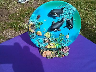 Killer Whales 3D Ocean Scenery Display Plate With Stand