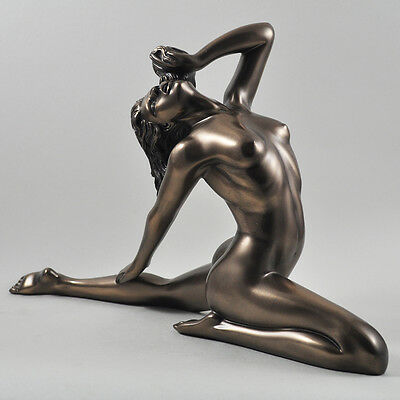 Large Nude Female Art Deco Pose Cold Cast Bronze Sculpture / Figurine.New.
