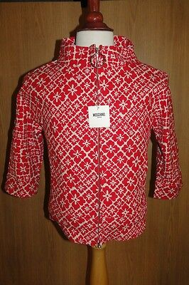 Moschino Vintage Ladies Short Canvas Jacket/coat Red/white Bnwt Rrp 185