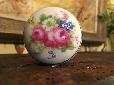 Antique English Floral Hand Painted Porcelain Door Knobs Double