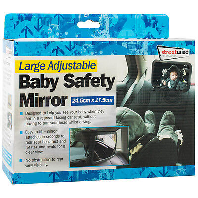 Large Adjustable Wide Rear View Baby Child Car Seat Mirror Safety Headrest Mount