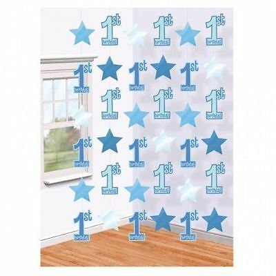 First 1st Birthday Blue Boy String Decorations Party Hanging Garland