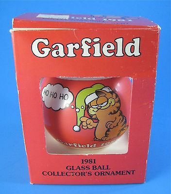 1981 Garfield the Cat Glass Ball Christmas Ornament in Box