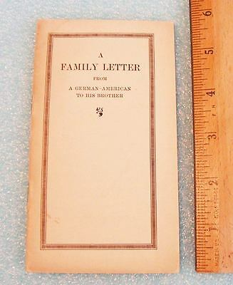 Family Letter German-American to His Brother 28 Pg Booklet Heinrichs 1917 WWI