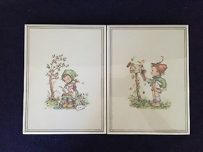 Vintage Set Of Wall Hangings Little Girl & Boy  Ceramic Tile Made in Italy