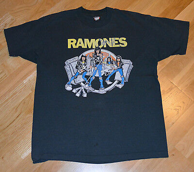 RaRe *1988 THE RAMONES* vintage punk-rock concert tour t-shirt (XL) 80's Johnny