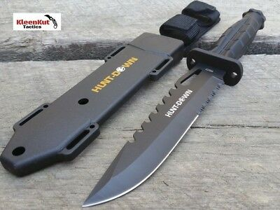 "NEW 13"" Black GRENADE STYLE Handle Hunting Knife with Heavy Duty Sheath 7"" Blade"