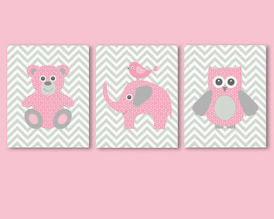 3 prints / posters for nursery, baby girl - pink teddy bear, elephant, owl