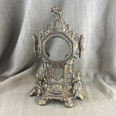 Antique Brass Mantle Clock Case Frame Spare Parts Repair Restoration Ornate VTG