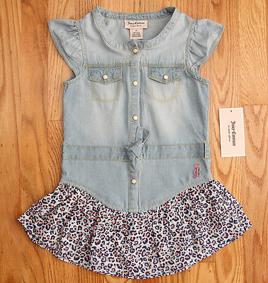 Juicy Couture Toddler Girl Dress ~ Jeans with Leaopard Print ~ Sleeveless ~