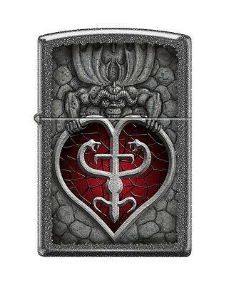 Zippo 0807, Gothic Heart, Iron Stone Finish Lighter, Full Size