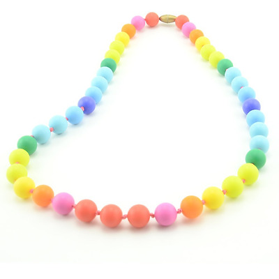 Teether - Rainbow Silicone Teething Nursing Necklace for Mom & Baby - BPA free -