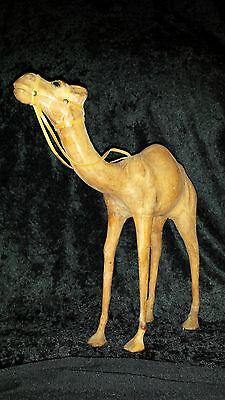 "LEATHER-WRAPPED CAMEL-DROMEDARY STATUE..13""..Glass Eyes..BUY $10."