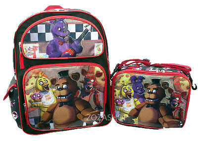 """Five Nights at Freddy's 16"""" Large Backpack & Lunch bag 2 pcs Boys Bag NEW"""