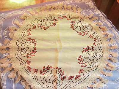 Arts & Crafts Embroidered Round Able Topper Stickley Mission Runner