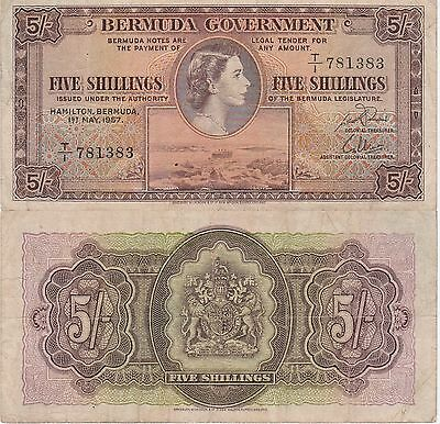 Bermuda 5 Shillings Banknote 1.5.1957 Very Fine Condition Cat#18-B-1383