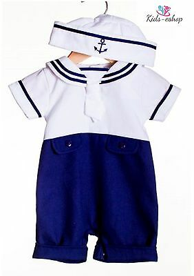 Baby Boy Sailor White Navy Romper Suit Grow Summer Outfit 1M-6 M