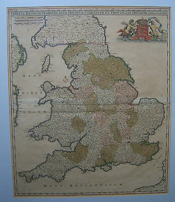 England and Wales: antique map by Frederick de Wit, c1680