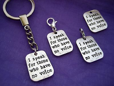 "YOU PICK CHARM ""I Speak for those who have no voice"" Clip On KeyChain Keyring"