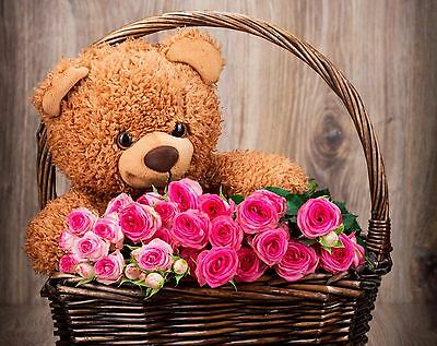 Pink Roses With Teddy Bear 100% cotton wall home Decor quality Canvas *