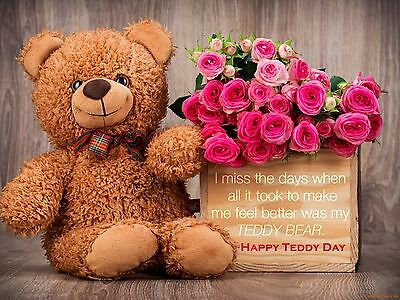 Happy teddy day cute 100% cotton wall home Decor quality Canvas *