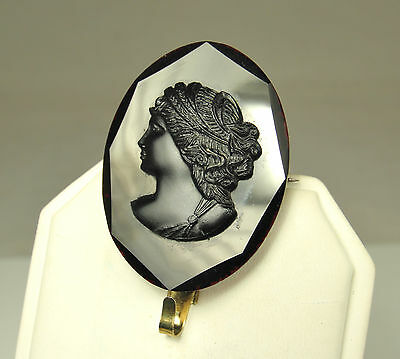 1861-85 VICTORIAN Grand Period MOURNING Pin/Brooch~Black AMETHYST GLASS CAMEO