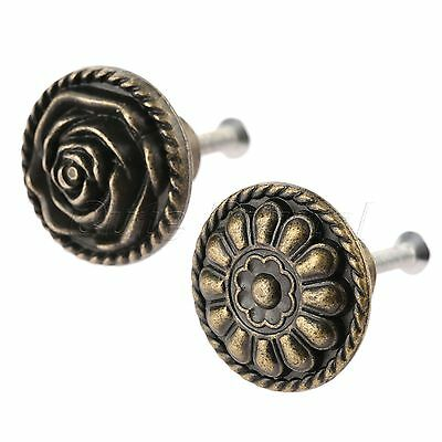 Antique Bronze Rose Flower Mini Chinese Drawer Cabinet Door Handle Knobs Pull