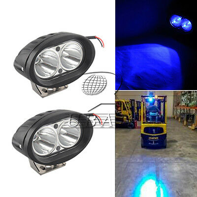 2pc Blue Forklift LED light Warehouse Safety Warning Lamp Spot offroad race 12v