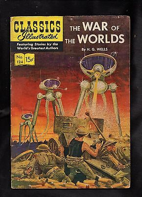 CLASSICS ILLUSTRATED #124 FAIR  (O) hrn125  (THE WAR OF THE WORLDS) H G WELLS