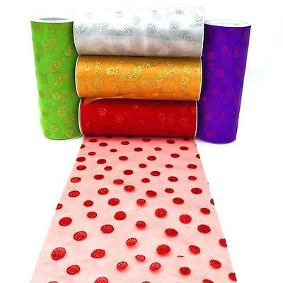 """Polka Dot Flocked Tulle 6""""*10yd roll 5 colors available Wedding Party Decor GI"""